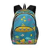 Elegante mochila grande personalizada portátil de viaje para chica chico mochila escolar con múltiples bolsillos el mundo submarino, color Color1, tamaño talla única