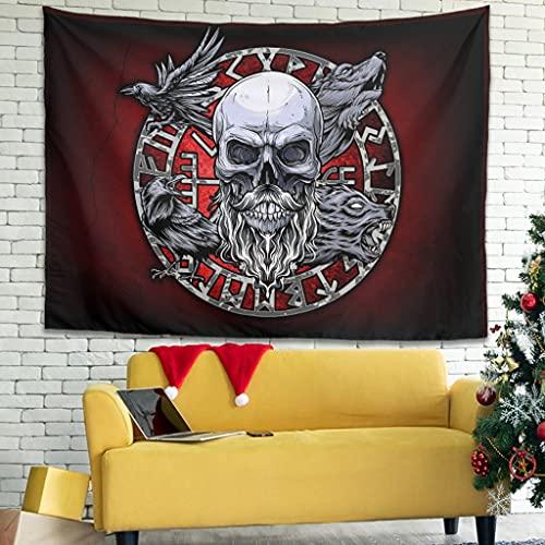YCNJJB Tapiz Viking Raven Wolf Skull Compass Runes Vintage Tapices de pared – Mantas de picnic para decoración de techo blanco 149,8 x 129,5 cm