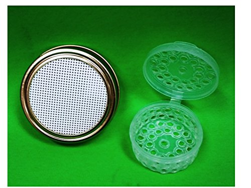 Kefir Fermenter: Set of Strainer Lid (Regular Size for Mason/ball Jars) and Container for Kefir Grains (Small Size - For 0.3 L-0.5l Volume)