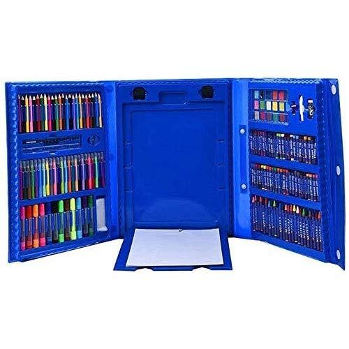 ZBQLKM Conjunto de Arte de Easel Trifold de 176 Piezas, Conjunto de Color de Lujo, crayones, Pasteles de Aceite, lápices de Colores, Pasteles de Acuarela, afilador, Conjunto de Arte de Lujo