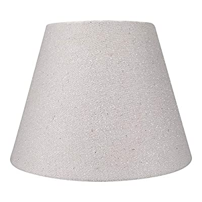 """Small Lamp Shade,Alucset Barrel Fabric Lampshade for Table Lamp and Floor Light,6x10x7.5"""",Natural Linen Hand Crafted,Spider (Beige White and Silvery Linen Fabric)"""