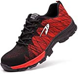 Zapatos de Seguridad para Hombres Zapatos de Acero con Punta de Seguridad,Zapatillas Deportivas Ligeras e Industriales Transpirables, 536 Rojo 43