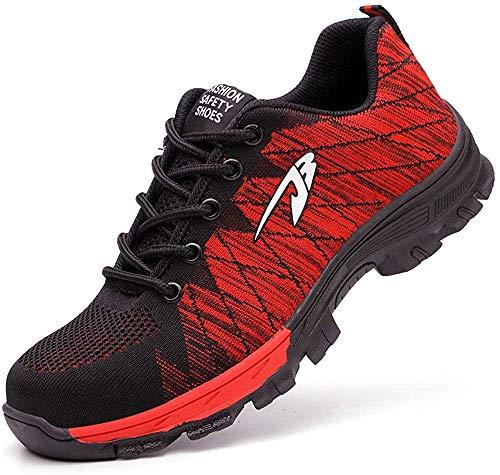 Zapatos de Seguridad para Hombres Zapatos de Acero con Punta de Seguridad,Zapatillas Deportivas Ligeras e Industriales Transpirables, Rojo 42