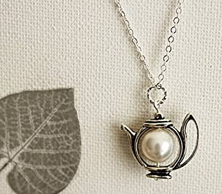 Teapot Necklace. Antique Silver Teapot with Swarovski Pearl. Pastel. Gift for Her