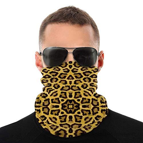 N/W Leopard Pattern Face mask reusable washable cloth turban women men neck apron cover ear ring black