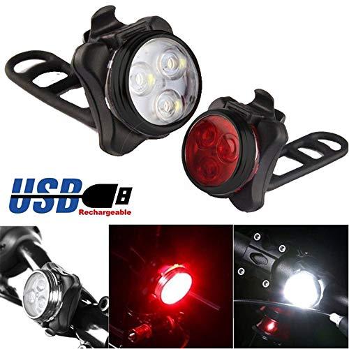 SHINEELI USB aufladbare Fahrrad-Licht-Set, super helle Frontscheinwerfer und Heck LED Fahrradlampe, mit 650mAh Batterie, 4 Licht-Modi