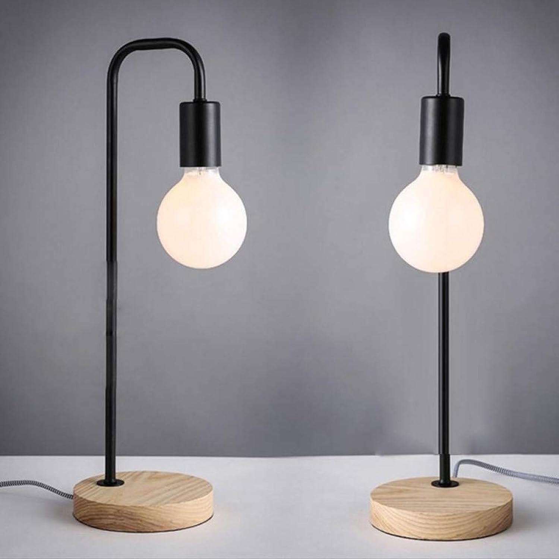 LNHYX Kreative Dimmable Loft Vintage Schreibtischlampe Traditionelle Amerikanische Landschaft Holztisch Tischlampe Nordic Metall Tischleuchten