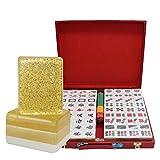Mah Jong Juego De Mahjong Azulejos Transparente Enrollado A Mano De Cristal Mahjong Tiles Fiesta De La Familia Juego Mahjong Azulejos 144 Tarjetas, Caja De Madera (Color : Golden, Size : 40#)