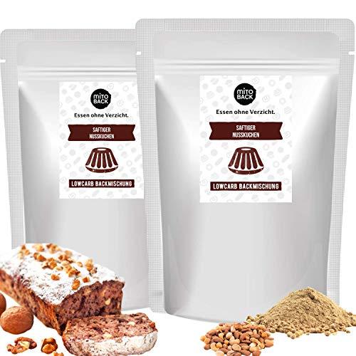 MITOBACK - 2er Set Saftiger Nusskuchen Backmischung á 270 g, Glutenfreie Nuss Kuchenbackmischung bei Zöliakie: Low Carb, Hefefrei, Sojafrei, Ballaststoffreich, ohne Gluten, Kohlenhydrate und Zucker