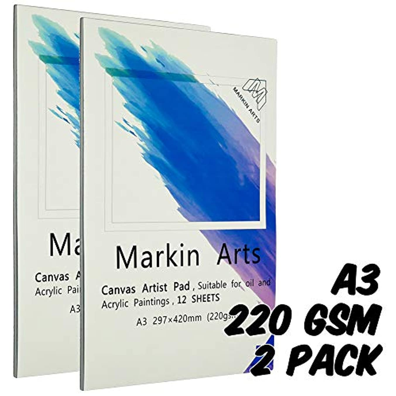 Markin Arts Sketch Book 149lbs/220gsm A3 Professional Heavy-Weight Textured Acid-Free Neutral PH Watercolor Oil Pencil Ink Painting Coloring Drawing Crafting Paper Artist Canvas Pad 12 Sheets 2-Pack