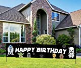 Large Star Themed Wars Birthday Banner, Happy Birthday Sign, Star Inspired Wars Birthday Decorations for Boys Girls(9.8 * 1.6 feet)