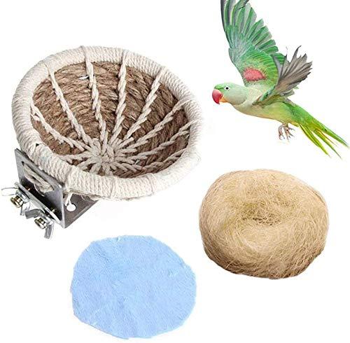 PINVNBY Vogelnest aus Hanfseil, für Sittiche, Zuchtnest, Bett, kleiner Papageienkäfig, Brutkasten mit Flanell, für Wellensittiche, Nymphensittiche, Sittiche, Sittiche, Nymphensittiche, Sittiche