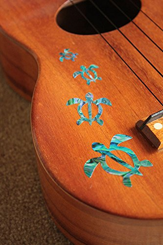 Inlay Sticker Decal for Ukuleles - Honu Family & Hawaiian Tropical Plants Set - Abalone Blue