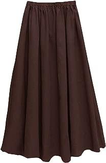 Women's Solid Cotton Linen Retro Vintage A-line Long Flowy Skirts