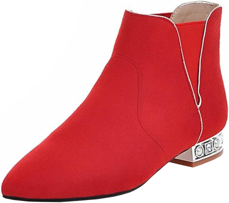 Agodor Women's Flat Nubuck Leather Ankle Boots Pointed Toe Slip on Elegant Autumn Winter shoes Black
