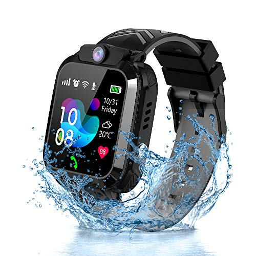 Vannico Kinder Smartwatch Telefon LBS Positionierung Tracker IP68 Wasserdicht SOS Voice Chat Mathe-Spiel Kamera Jungen Mädchen Geburtstags Geschenke (Schwarz)