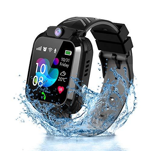 Vannico Reloj Inteligente Niño, Smartwatch para Niños IP68, LBS, Juegos, Llamada, SOS, Cámara, Chat de Voz, Modo de Clase, Reloj Regalo para Niños de 3-12 años (Negro)