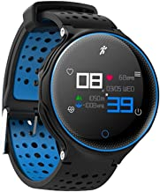 PADY-Wearable Technology Microwear X2 Plus Smart Watch Bluetooth 4.0 IP68 Waterproof Touch Key Sedentary Reminder Sleep Heart Rate Monitor Pedometer (Blue)
