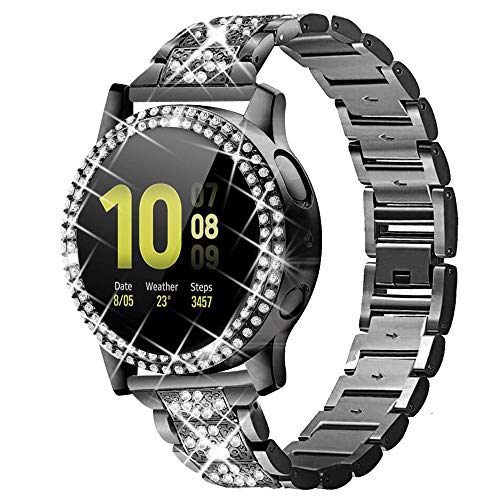 Bekomo Compatible for Samsung Galaxy Active 2 Watch Band 40mm with Case,Women Bling Jewelry Stainless Steel Wrist Bands & 2 pack PC Bumper Screen Protector Cover for Galaxy Active 2 Watch 40mm.