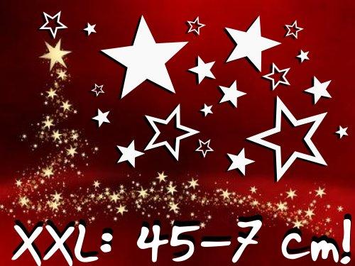 XXL-1A-Luxus Set Schaufenster 25 Stück Sterne Aufkleber WEISS, ø 45-7 cm, 70003, Fensterdekoration zu Weihnachten Fensterbild / Fensteraufkleber, Wandtattoo Deko Sticker, Autoaufkleber, Weihnachtsdekoration, Schaufenster In- und Outdoor Sternchen, Geschäft, Ladendeko, weiß