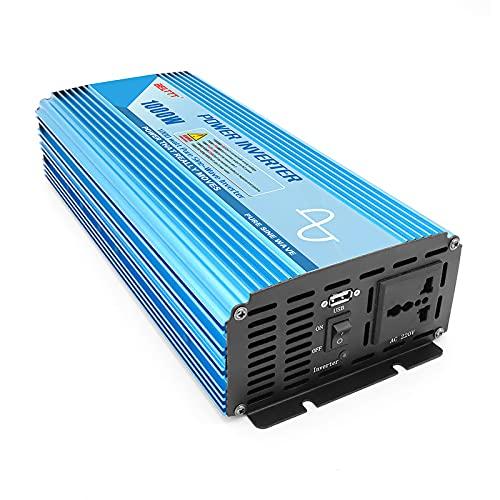 LONGRING Potencia Pico 2000W Inversor 12V / 24V / 48V a 220V Convertidor de Transformador de Coche de Onda sinusoidal Pura con Salidas universales y Conector USB,12v to 220v