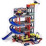 Aparcamiento de juguete para niños, garaje de aparcamiento, garaje, incluye 4 coches de juguete y helicópteros, juego de juego con gasolinera, silla de conducir, túnel de lavado y taller.