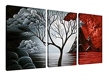 Wieco Art The Cloud Tree Wall Art Oil PaintingS Giclee Landscape Canvas Prints for Home Decorations 3 Panels