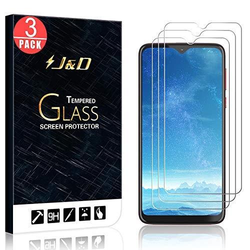 J&D Compatible para Motorola Moto G8 Play/G8 Plus/One Macro/LG G8X ThinQ/V50S ThinQ/UMIDIGI A5 Pro Protector de Pantalla (3-Pack), NO Cobertura Completa Cristal Templado Vidrio Protector d