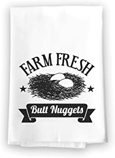 Honey Dew Gifts Funny Inappropriate Kitchen Towels, Farm Fresh Butt Nuggets Flour Sack Towel, 27 inch by 27 inch, 100% Cotton, Highly Absorbent, Multi-Purpose Kitchen Dish Towel