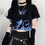 MA Camiseta Mujer Top Punk Camiseta Corta Ropa Vintage Mariposa Harajuku Manga Corta Camisa Ropa Vegano-Negro_S