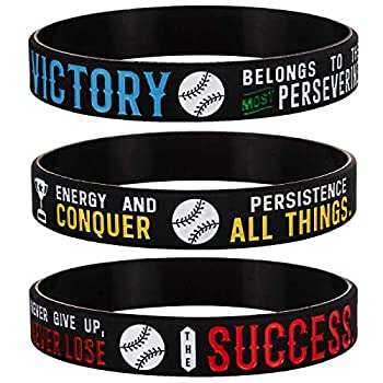 Sainstone Baseball Silicone Motivational Wristbands Rubber Inspirational Quote Bracelets - Power of Faith for Men Women Sports Birthday Party Cheer Gifts Supplies Favors  3-Pack