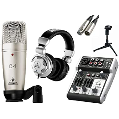 Behringer C-1 Microphone with USB Mixer & Accessories, All In One Solution Kit for Home/Mobile Studio, Podcast, Webinars Recordings