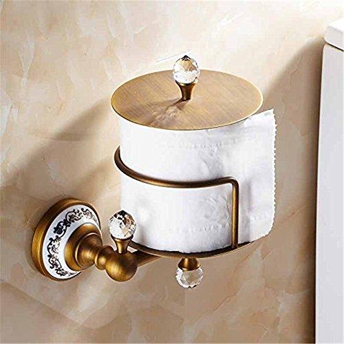 Weare Home Geschnitzt Retro Vintage Antik Design Deko Schön Toilettenpapierhalter Klorollenhalter mit Deckel aus Kupfer Messing Bronze für WC Küche