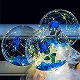 lefeindgdi Ramo de rosas de globo luminoso, bola de bobo con luz LED transparente con rosa, globos de burbujas brillantes con cadena de luces para novia, esposa, 50,8 cm