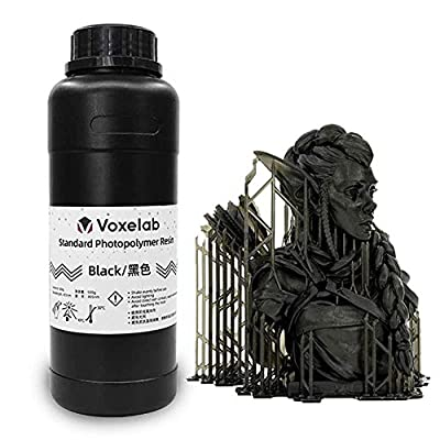 Voxelab 3D Printer Resin 0.5kg/bottle, 405nm UV-Curing 3D Resin with High Precision and Quick Curing & Smooth Surface for LCD 3D Printing (black)