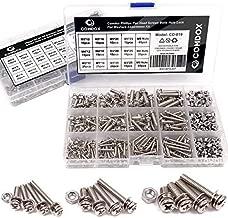 Comdox 360-Pack 12 Sizes Phillips Pan Head Machine Screws Bolts Nuts Lock Flat Washers Assortment Kit, Carbon Steel, M3 M4 M5