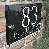 200x140mm Personalizada Número números de Las Casas Muestra de la Puerta de la Calle Dirección Placas de Cristal Moderno Durable (Size : 20×14cm)