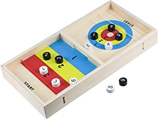 HSOMiD Wooden Ice Curling Game Home/Office Tabletop Board Game Family Fun Kids Intellectual Toy Table Top Curling Game