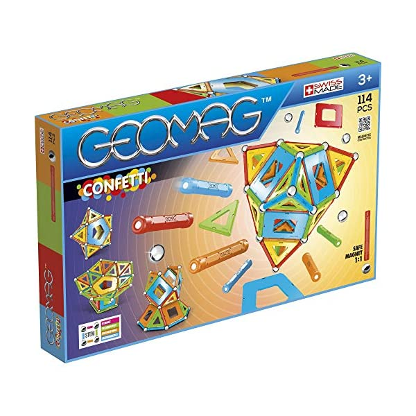 Geomag- Confetti Juego de construcción magnética, Multicolor, 114 Piezas (357)
