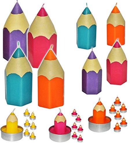 12 TLG. Set _ Teelichter / kleine Kerzen -  Bunte Stifte - bunter Farbmix  - 5 cm hoch - Schuleinführung / Geburtstagskerzen - Stift - Schulanfänger - Tisch..