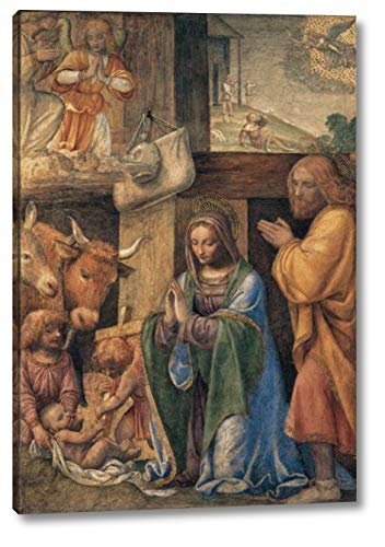 """Nativity and Annunciation to The Shepherds by Bernardino Luini - 14"""" x 20"""" Gallery Wrap Canvas Art Print - Ready to Hang"""