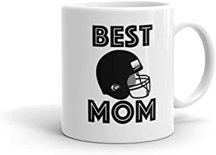 BEST FOOTBALL MOM Sports Helmet Coffee Mug (11oz) | FREE SHIPPING - Personalized Photo Option Love & Appreciation Mothers Day Gift by Son Daughter Athlete Kids Children | Available in 15oz & for Dad