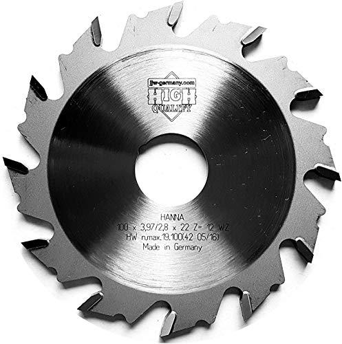 jjw-germany HM Nutfräser 100 x 3,97 x 22 Z= 12 WZ passend für Lamello Classic X T Loc