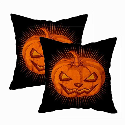 Teepel Throw Pillow Covers,Boho Pillow Covers Set of 2 18X18 Glowing Dark Spooky Halloween Pumpkin Drawing Jack Lantern Candle Inside Divergent Rays Square Decorative Pillow Covers for Couch