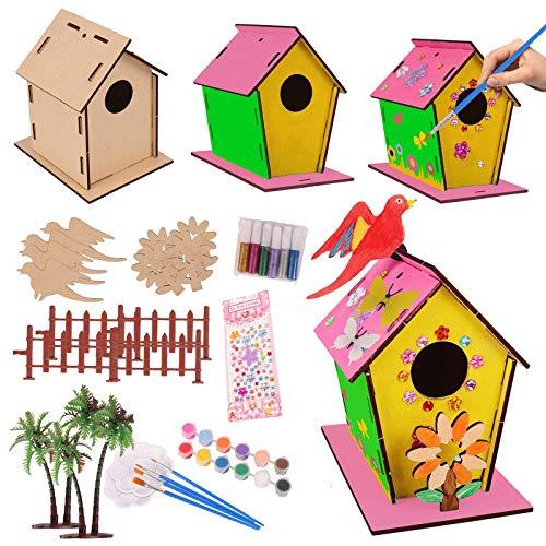 colmanda DIY Holz-Vogelhaus, 4 Stück Holz Vogelhaus Bastelset, Pädagogisches Spielzeug Lackierbare Vogelhaus Kunst, Hölzernes Puzzle DIY für Kinder Vogelhauss Dekorieren Bastelset Spielzeug