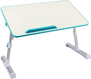 HOSL Adjustable Tablet Computer Desk Laptop Stand Foldable Notebook Table Shelf Portable Reading Table Homework Desk Dinning Table (No Fan, Green Blue)