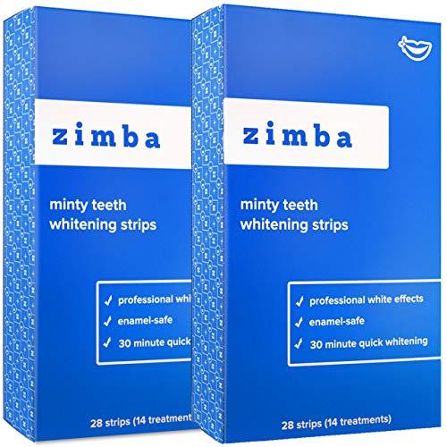 ZIMBA Teeth Whitening Strips - Mint - Zimba Whitening Strips - Teeth Whitening Sensitive Teeth - White Strips Teeth Whitening - Best Teeth Whitener - Natural Whitening Strips-56 Strips-28 Uses-2 Pack