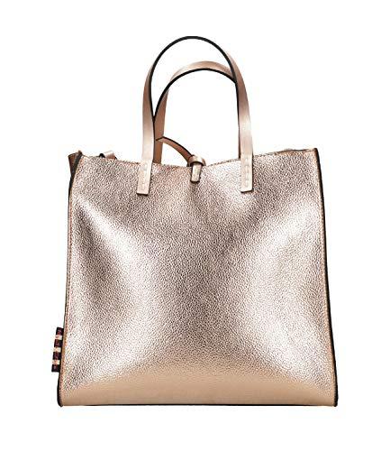 MANILA GRACE Borsa Shopping Felicia Media Rosa Metallizzata