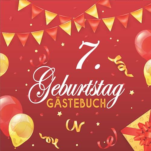 Gästebuch, 7. Geburtstag: Zum 7. Geburtstag, Edles Cover in Schwarz & Gold, für 7 Gäste, für...
