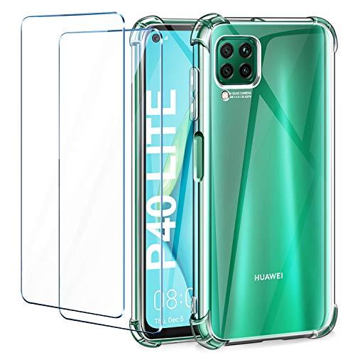 Leathlux Huawei P40 Lite Hülle + 2 Stück Panzerglas Bildschirmschutzfolie, Transparent Silikon TPU Soft Premium Hülle Anti-Kratzer Schock-Absorption Durchsichtig Schutzhülle für Huawei P40 Lite